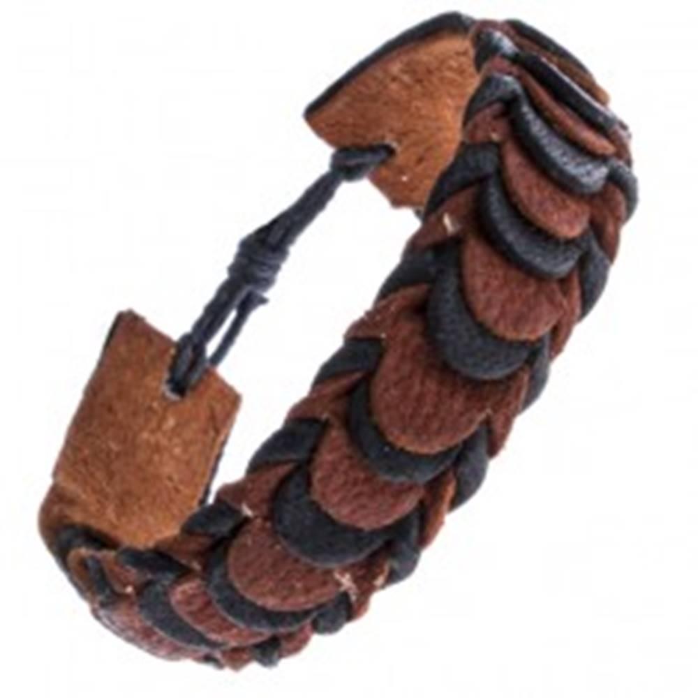 Šperky eshop Čierno-hnedý skladaný náramok z kože, motív šupiniek