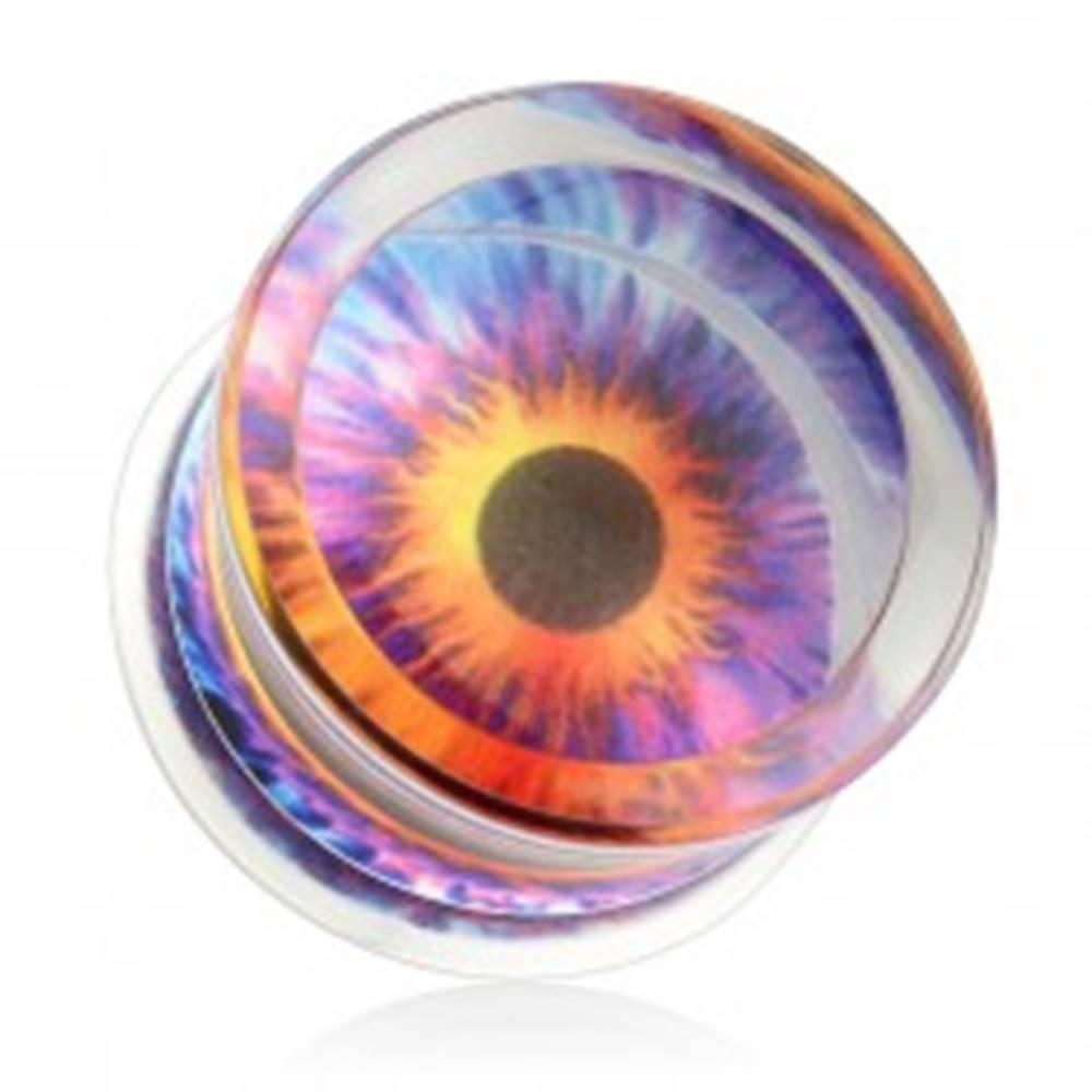 Šperky eshop Číry plug do ucha, sedlový, akrylový, motív - farebné oko - Hrúbka: 10 mm