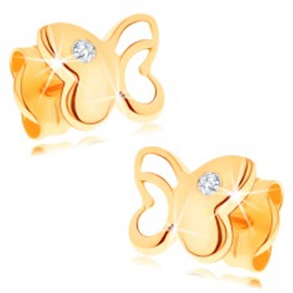 Šperky eshop Diamantové zlaté náušnice 585 - lesklý motýľ s vyrezávanou časťou, číry briliant