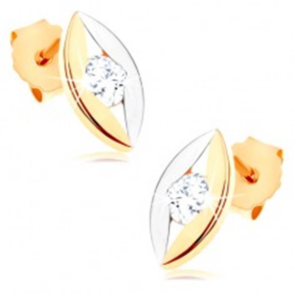 Šperky eshop Dvojfarebné náušnice z 9K zlata - lesklé zrnko s úzkym výrezom a zirkónom