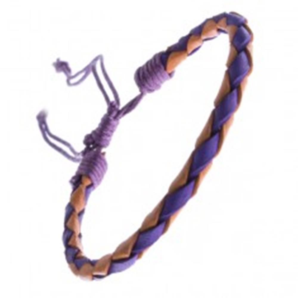 Šperky eshop Dvojfarebný kožený náramok - oblý pletenec, šnúrky