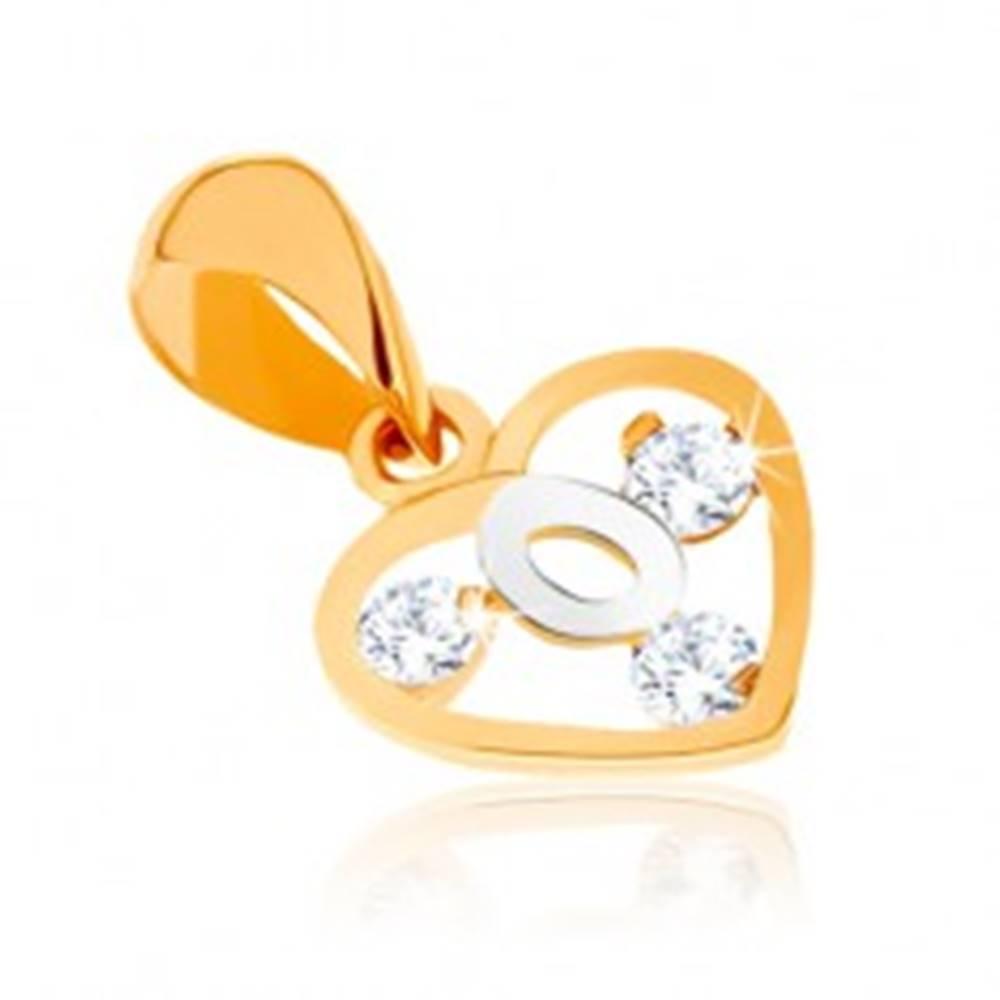 Šperky eshop Dvojfarebný prívesok v 9K zlate - obrys srdca, slučka z bieleho zlata, zirkóny