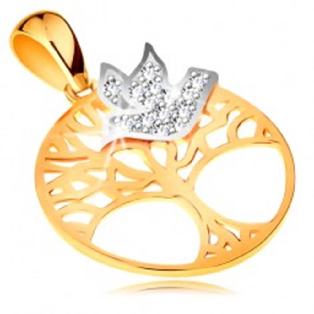 Šperky eshop Dvojfarebný prívesok zo zlata 585 - strom života v kruhu, číry zirkónový vtáčik