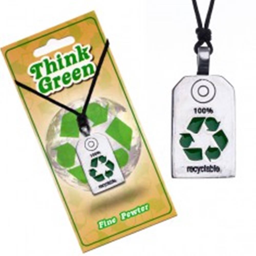 Šperky eshop EKO náhrdelník - lesklá známka so symbolom recyklácie