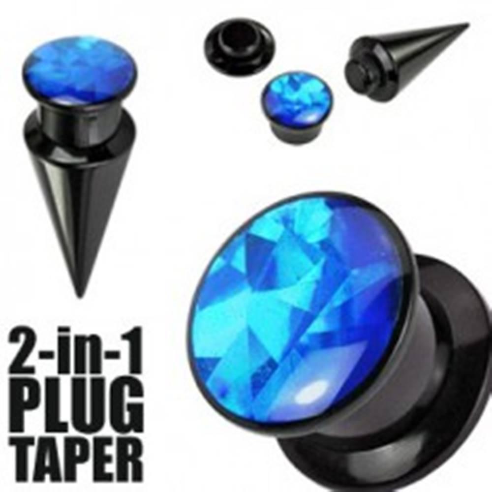 Šperky eshop Expander a plug 2-in-1 čierny - Hrúbka: 10 mm
