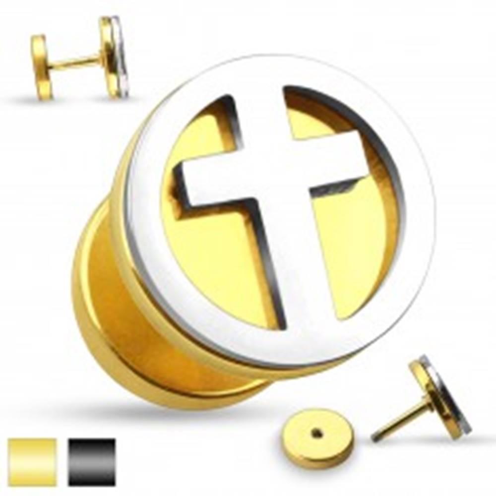 Šperky eshop Falošný oceľový plug do ucha - vyrezávaný latinský krížik v striebornom odtieni - Farba piercing: Čierna