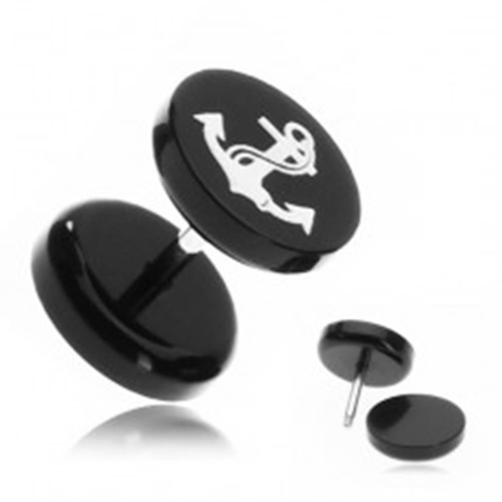 Šperky eshop Falošný piercing do ucha z akrylu - námornícka kotva s lanom
