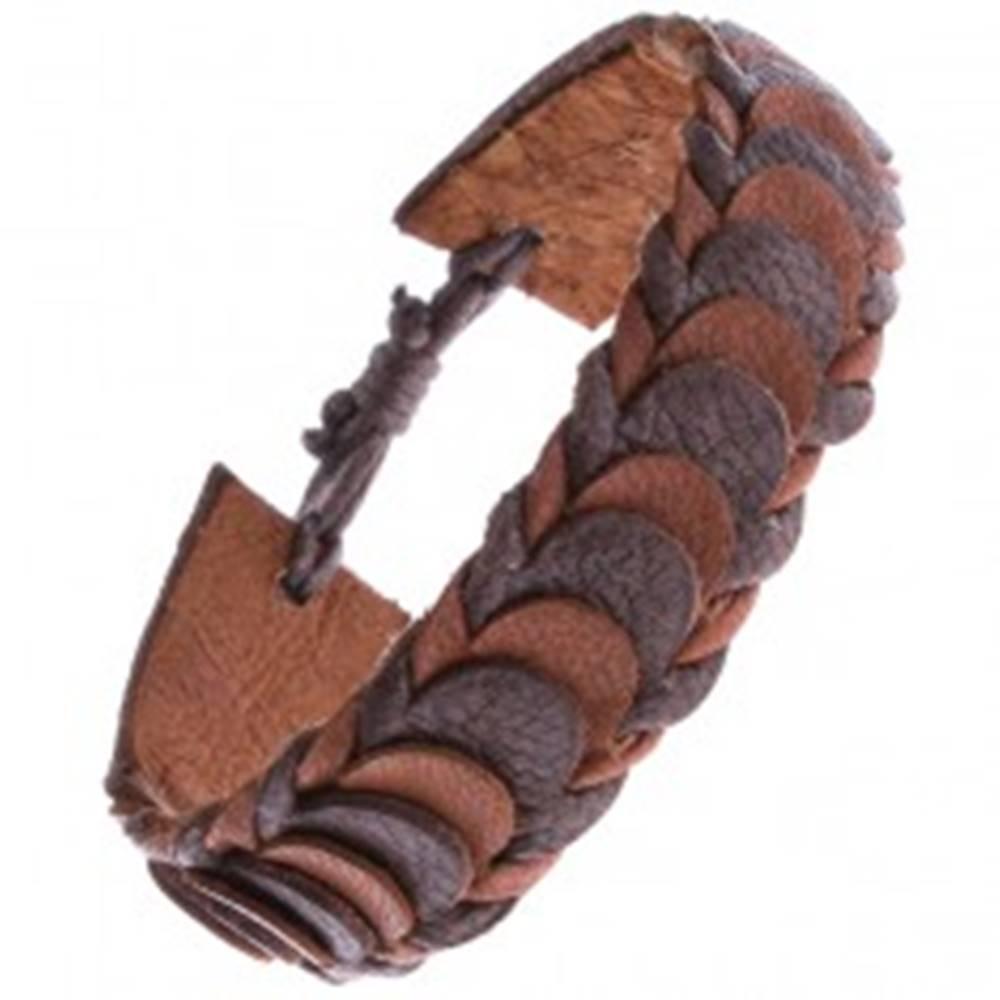 Šperky eshop Hnedý kožený náramok z prekladaných lupienkových pásov