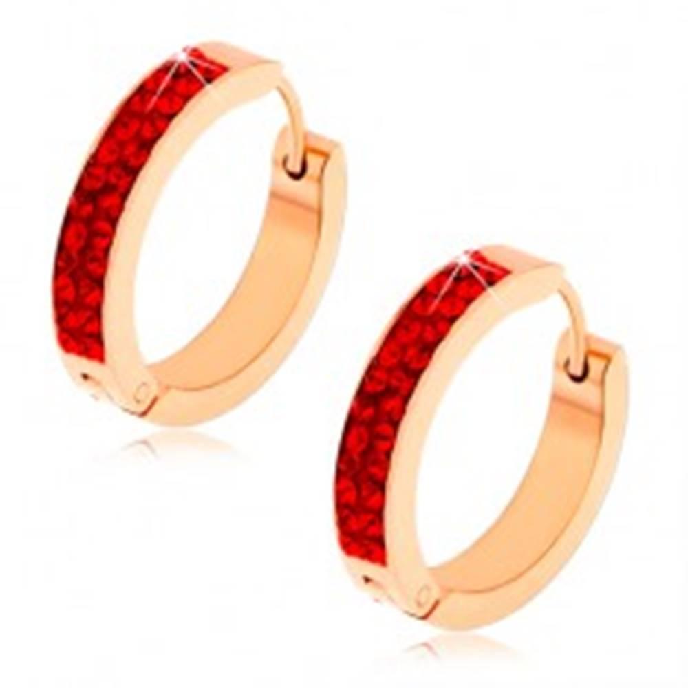 Šperky eshop Kĺbové náušnice z ocele, medená farba, rubínovo červené zirkóny