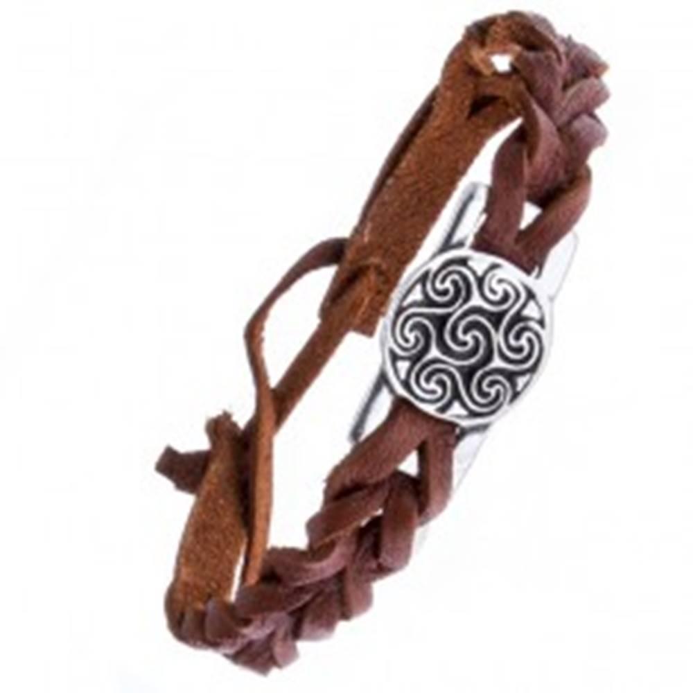 Šperky eshop Kožený náramok - hnedý, známka, keltský motív slnka