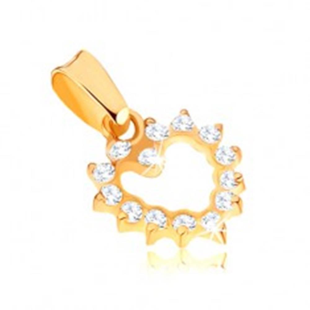 Šperky eshop Ligotavý zlatý prívesok 375 - pravidelná kontúra zirkónového srdca