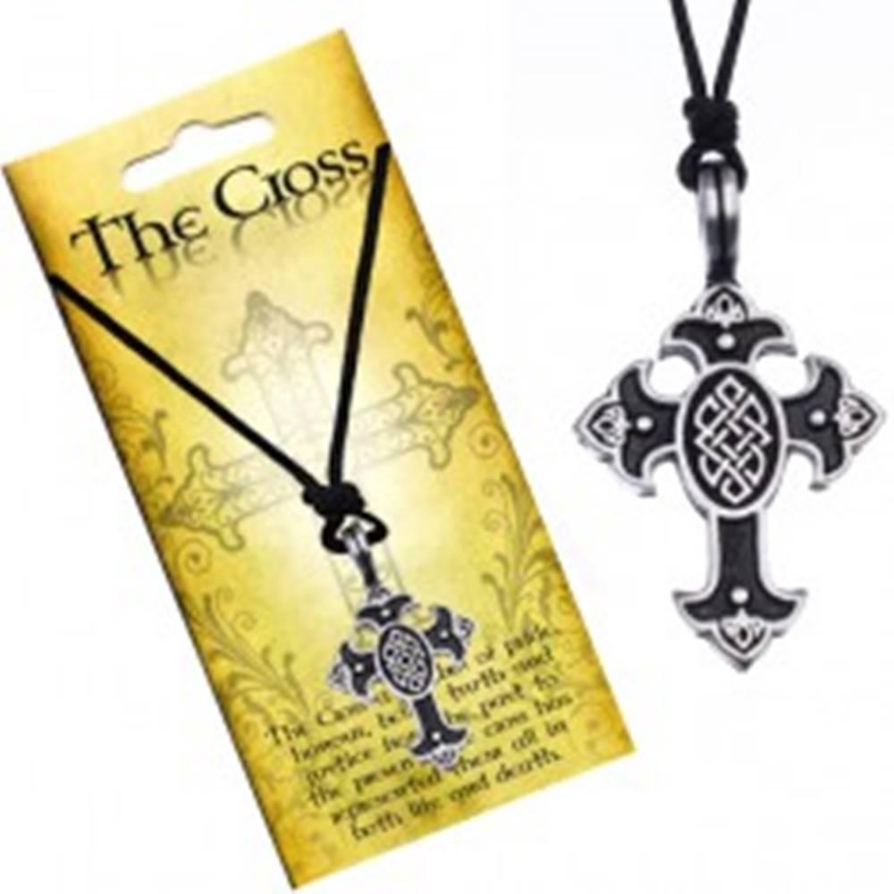 Šperky eshop Náhrdelník na šnúrke, prívesok - kríž s keltským uzlom