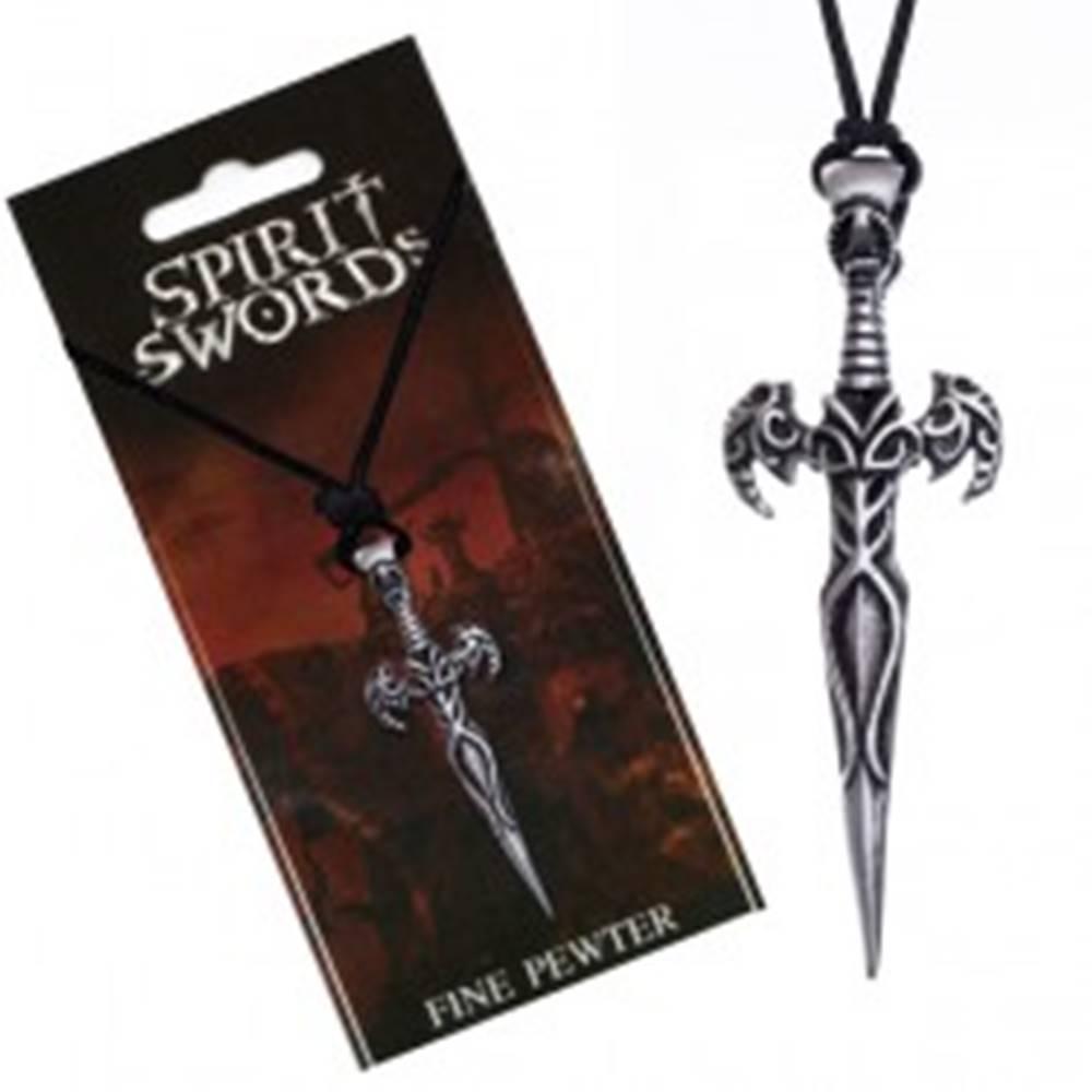 Šperky eshop Náhrdelník na šnúrke, prívesok, meč zdobený ornamentmi