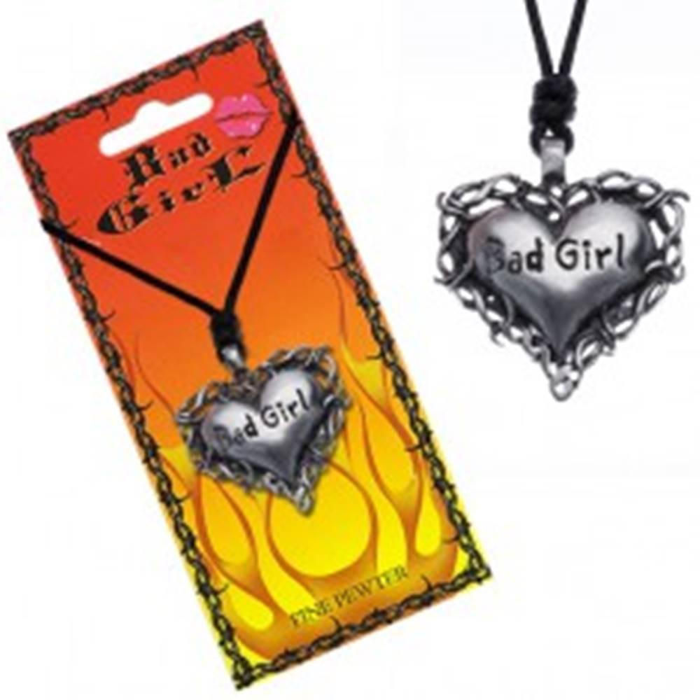 """Šperky eshop Náhrdelník s príveskom srdca v tŕní s nápisom """"Bad girl"""""""