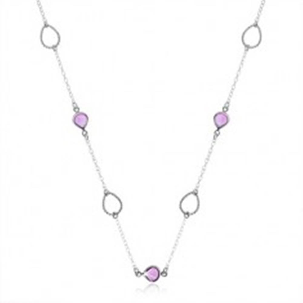 Šperky eshop Náhrdelník, striebro 925, fialový zirkón a obrys - rôzne otočené kvapky