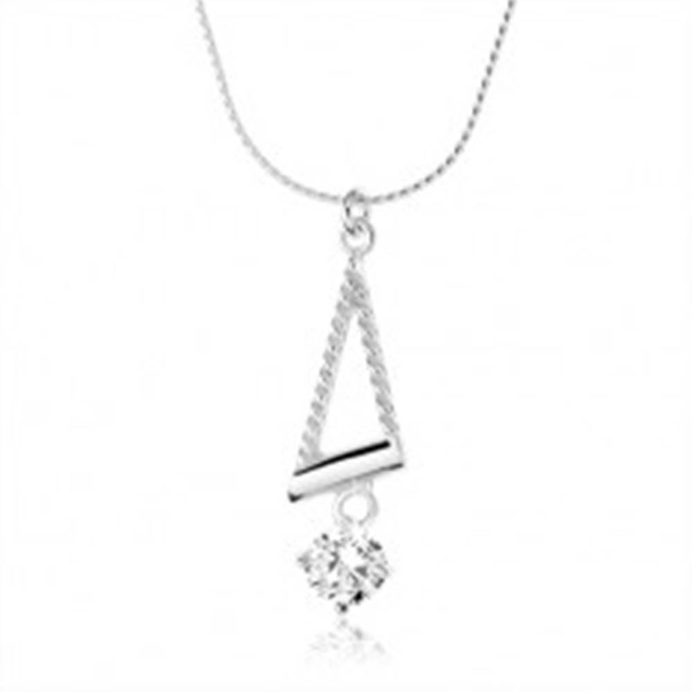 Šperky eshop Náhrdelník zo striebra 925, špirálovitá retiazka, obrys trojuholníka, zirkón