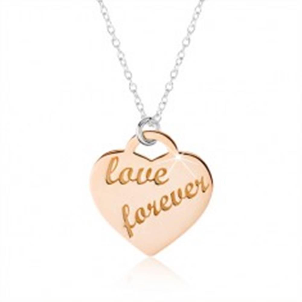 """Šperky eshop Náhrdelník zo striebra 925, srdce medenej farby, nápis """"love forever"""""""
