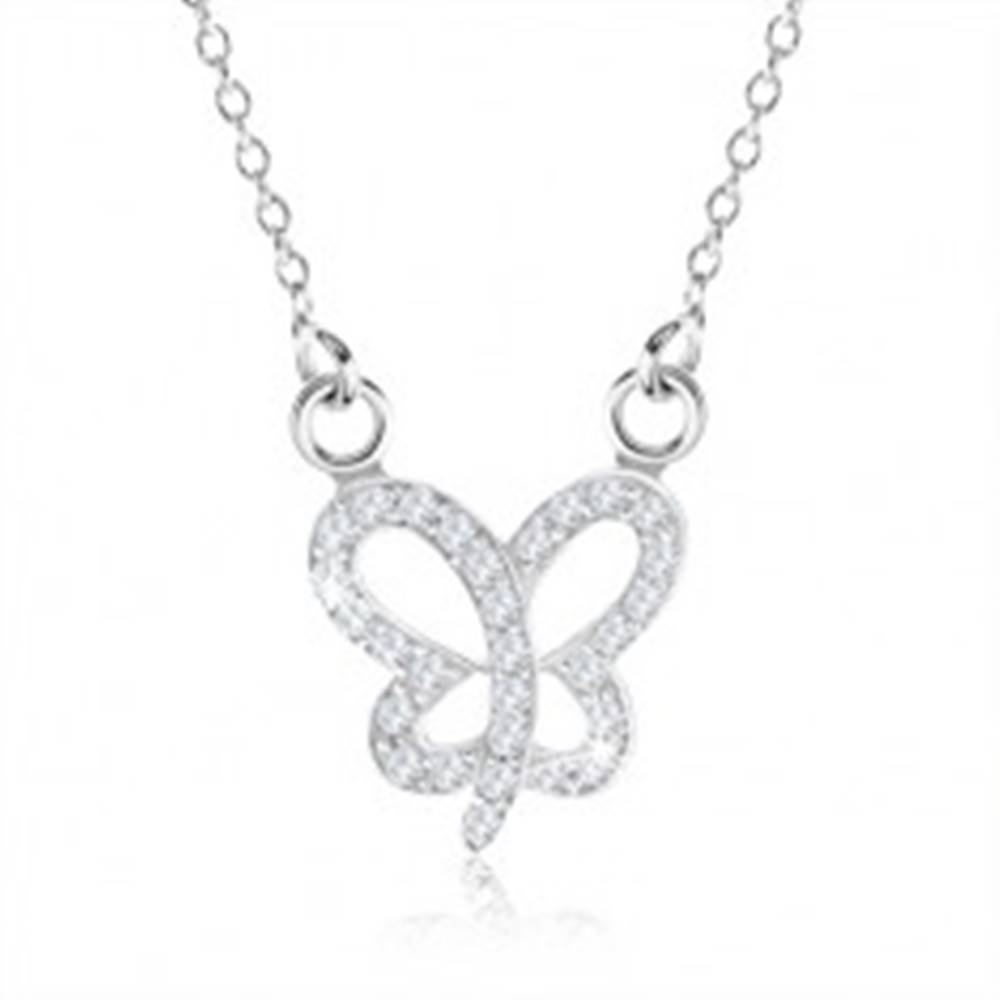 Šperky eshop Náhrdelník zo striebra 925, trblietavá kontúra motýlika s čírymi zirkónmi