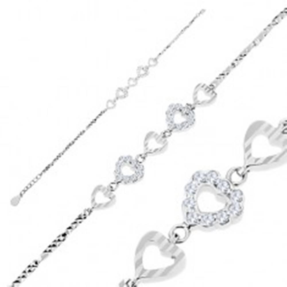 Šperky eshop Náramok, striebro 925, gravírované články, srdiečka - zárezy a číre zirkóny