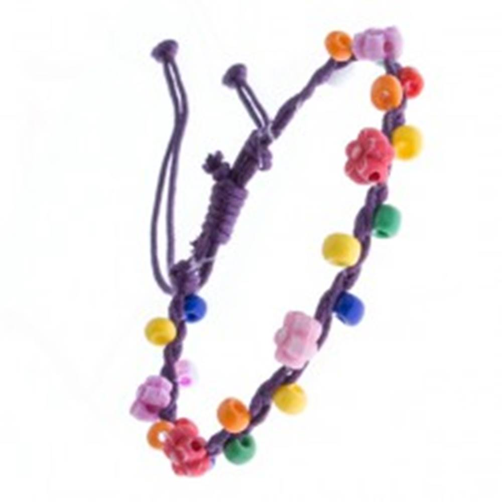 Šperky eshop Náramok z pletených šnúrok - fialový s kvietkami, korálky