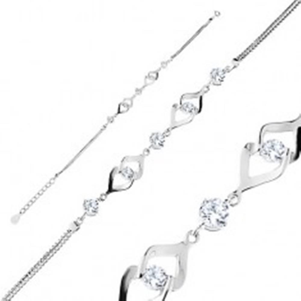 Šperky eshop Nastaviteľný náramok, striebro 925, dvojitá retiazka, prepojené obrysy, zirkóny