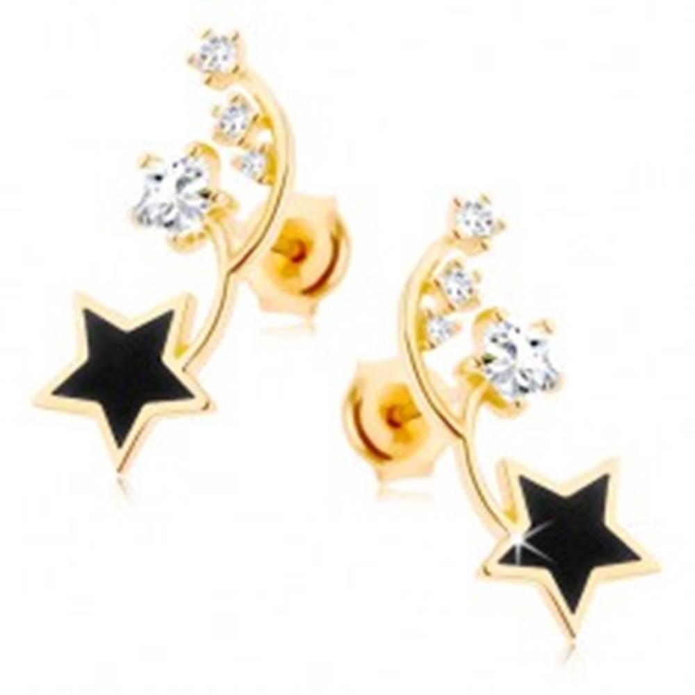 Šperky eshop Náušnice v žltom 9K zlate - dva tenké oblúčiky, čierna a zirkónová hviezdička