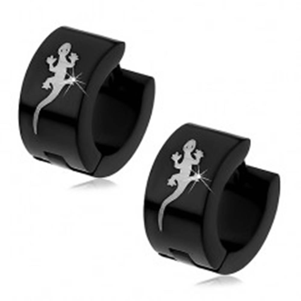 Šperky eshop Náušnice z chirurgickej ocele - čierne, jašterička striebornej farby