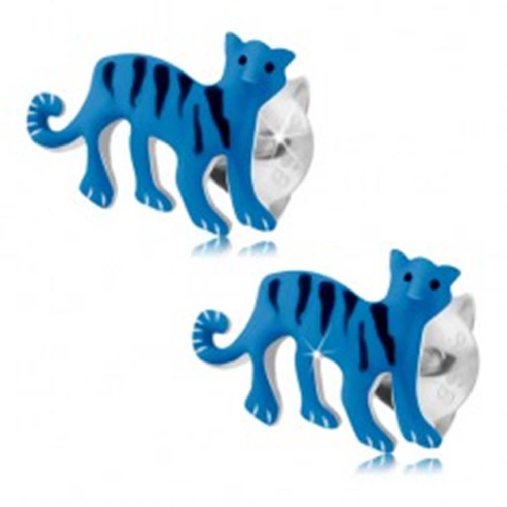 Šperky eshop Náušnice zo striebra 925, modrý tiger s čiernymi pásikmi, puzetky