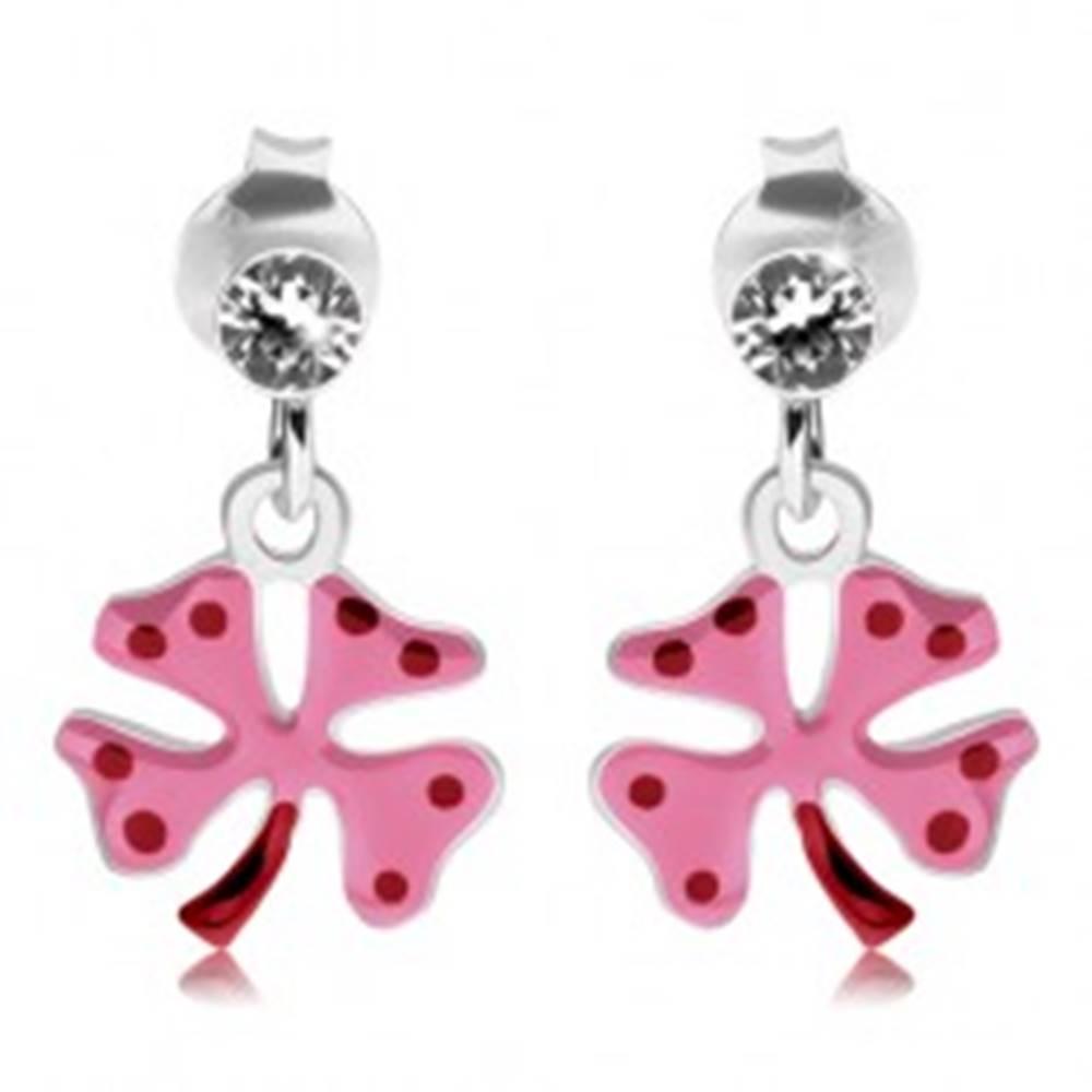 Šperky eshop Náušnice zo striebra 925, štvorlístok s ružovou glazúrou, červené bodky