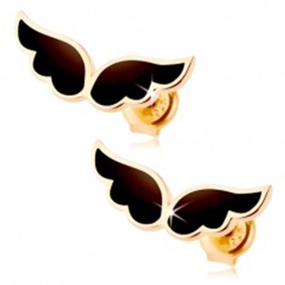 Šperky eshop Náušnice zo žltého 9K zlata - dvojica anjelských krídel, čierna glazúra