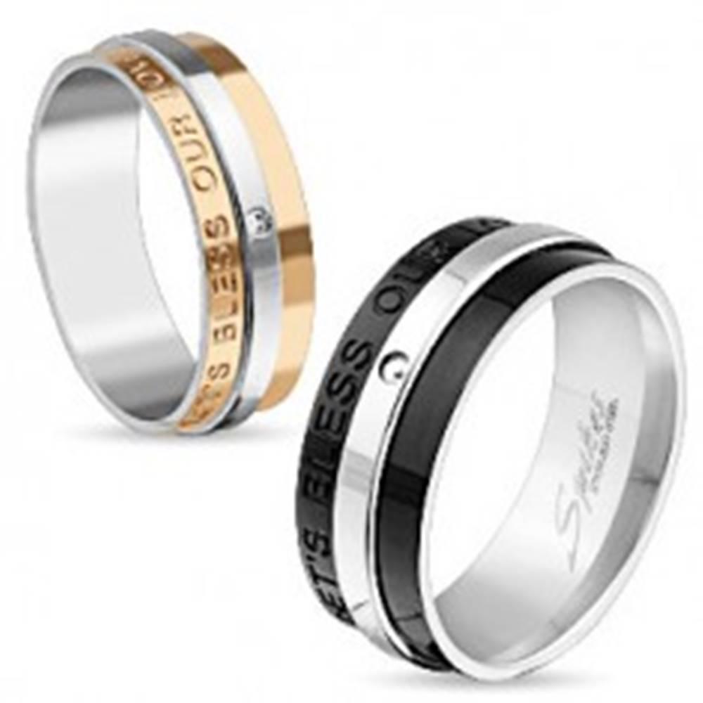 Šperky eshop Obrúčka z chirurgickej ocele medenej a striebornej farby, zirkón, nápis, 6 mm - Veľkosť: 49 mm