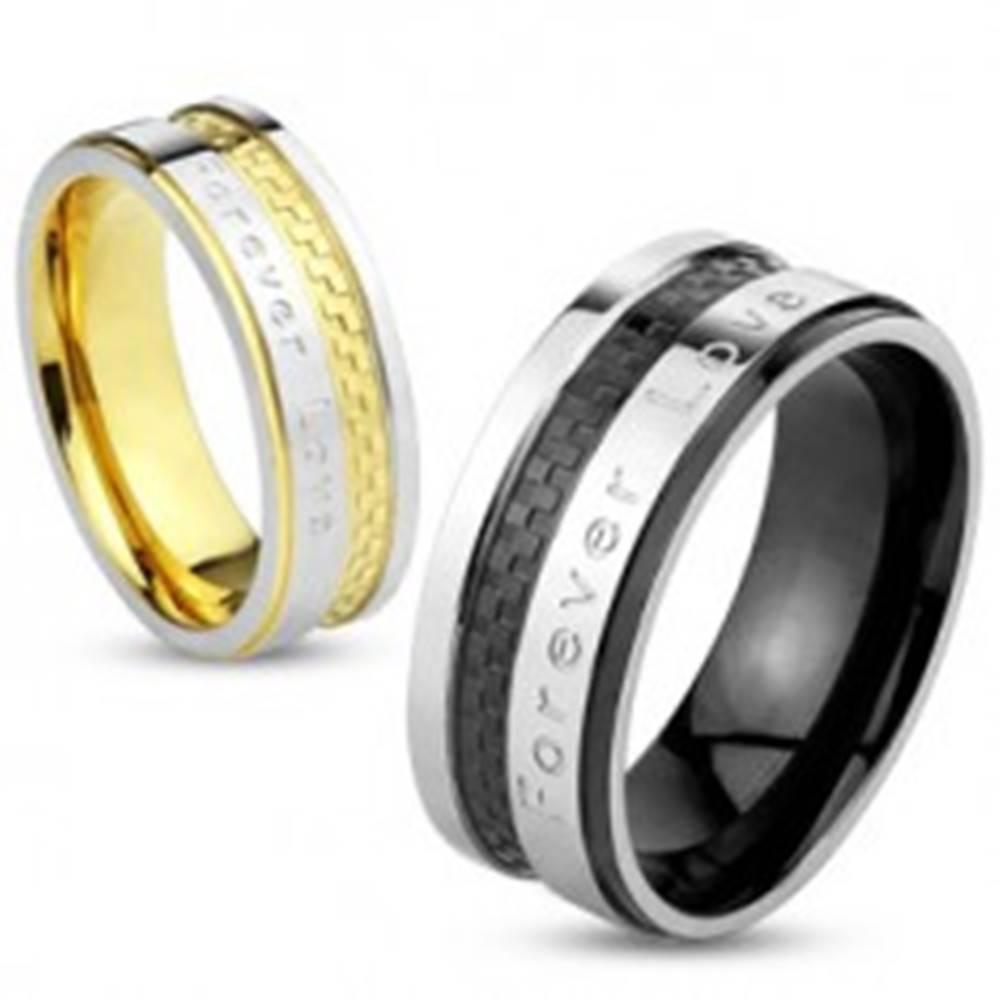 """Šperky eshop Obrúčka z ocele 316L, strieborná a čierna farba, nápis """"Forever Love"""", 8 mm - Veľkosť: 59 mm"""