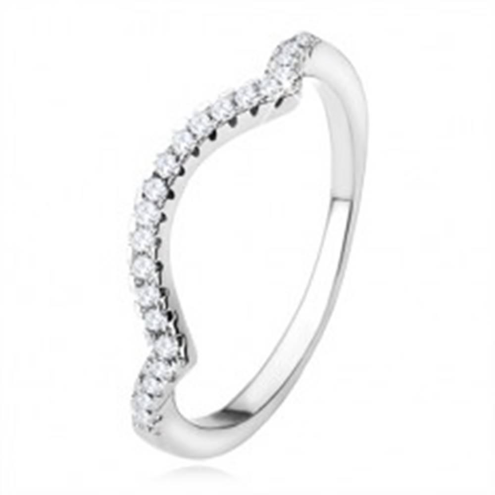 Šperky eshop Obrúčka zo striebra 925, zašpicatené línie, oblúk, číre trblietavé kamienky - Veľkosť: 50 mm