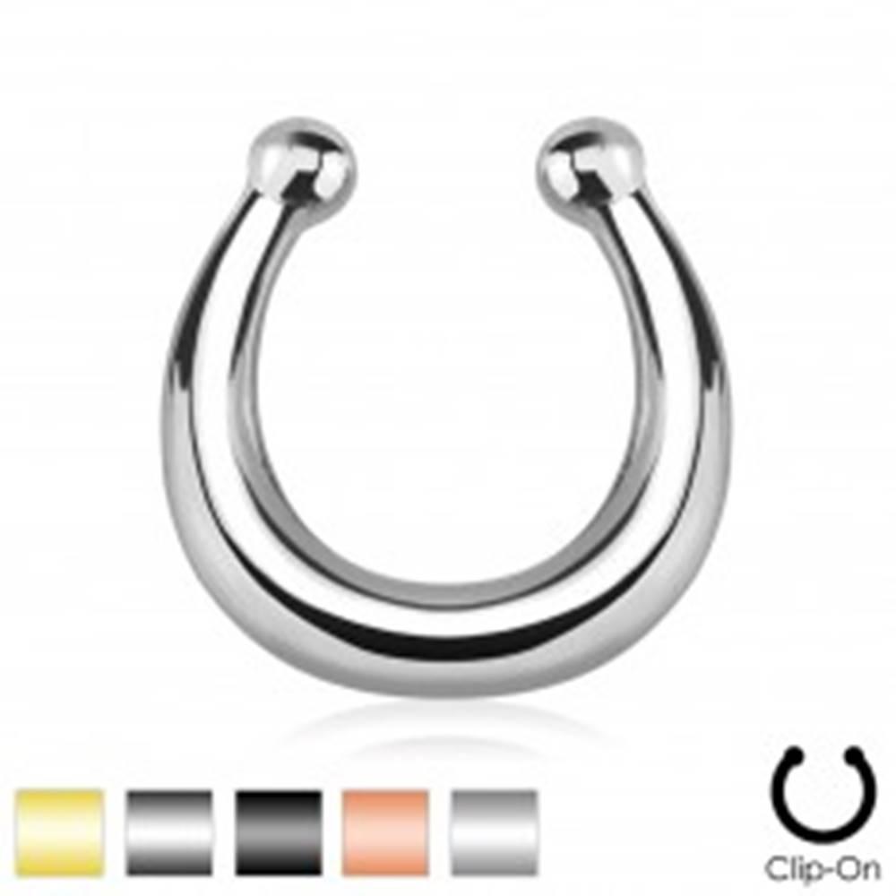 Šperky eshop Oceľový fake piercing do nosa, lesklá podkova ukončená guličkami - Farba piercing: Čierna