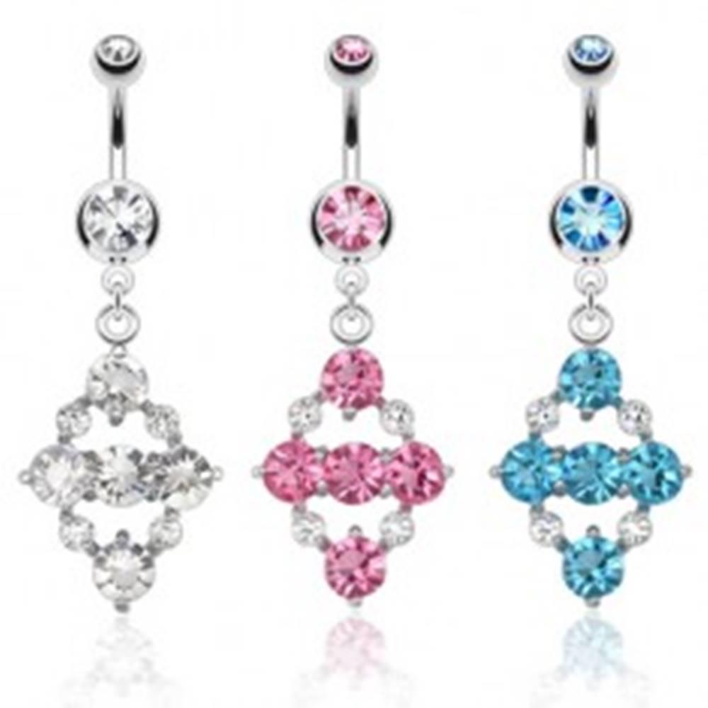 Šperky eshop Oceľový piercing do brucha, kosoštvorec z farebných okrúhlych kamienkov - Farba zirkónu: Aqua modrá - Q