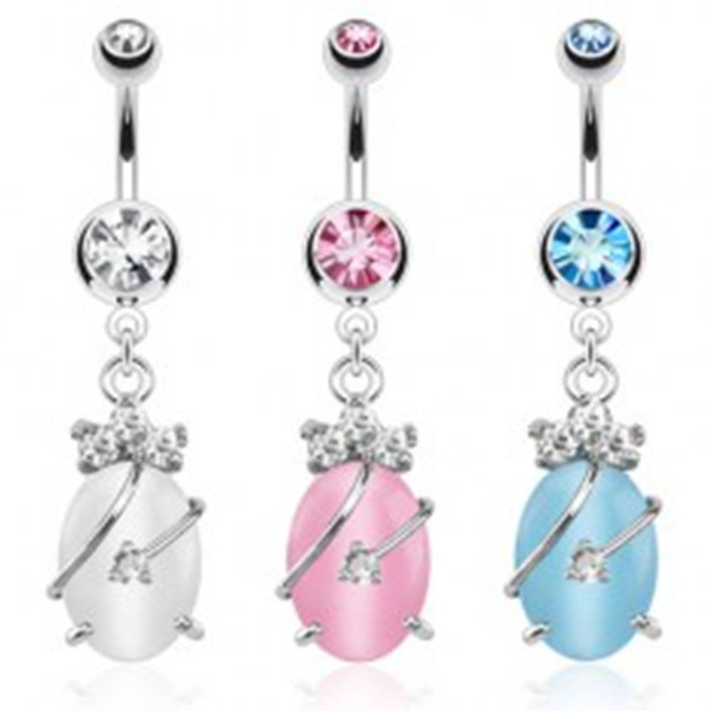 Šperky eshop Oceľový piercing do bruška, farebné zirkóny a kameň mačacie oko - Farba zirkónu: Aqua modrá - Q