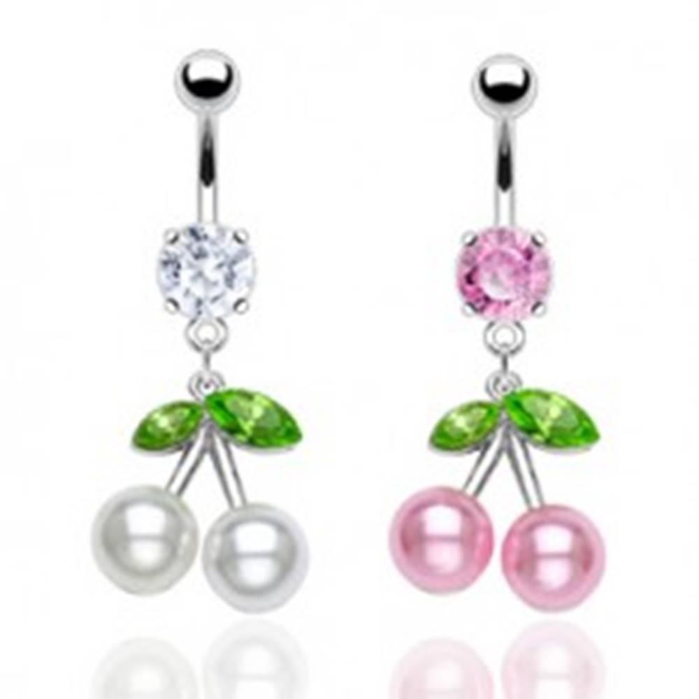 Šperky eshop Oceľový piercing do pupku, farebné čerešne, perleťové guličky, zirkóny - Farba piercing: Číra