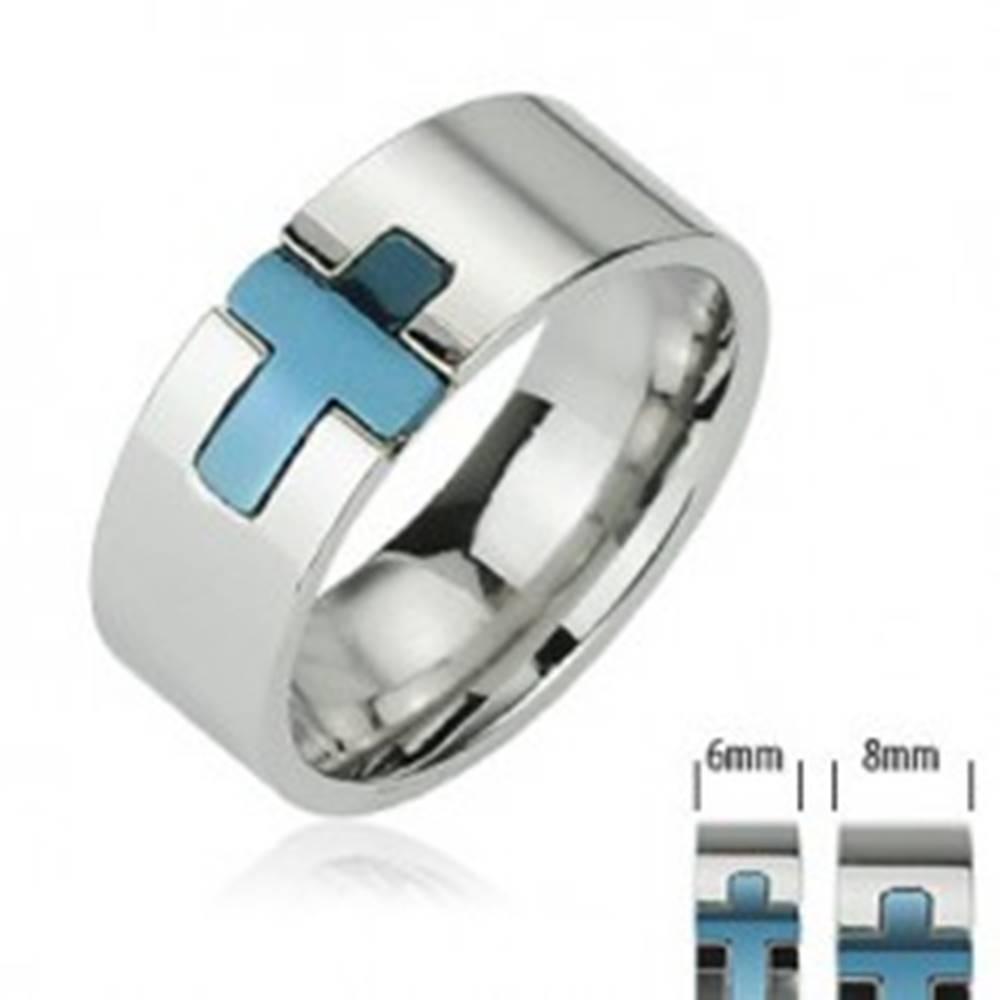 Šperky eshop Oceľový prsteň - modrý kríž - Veľkosť: 49 mm