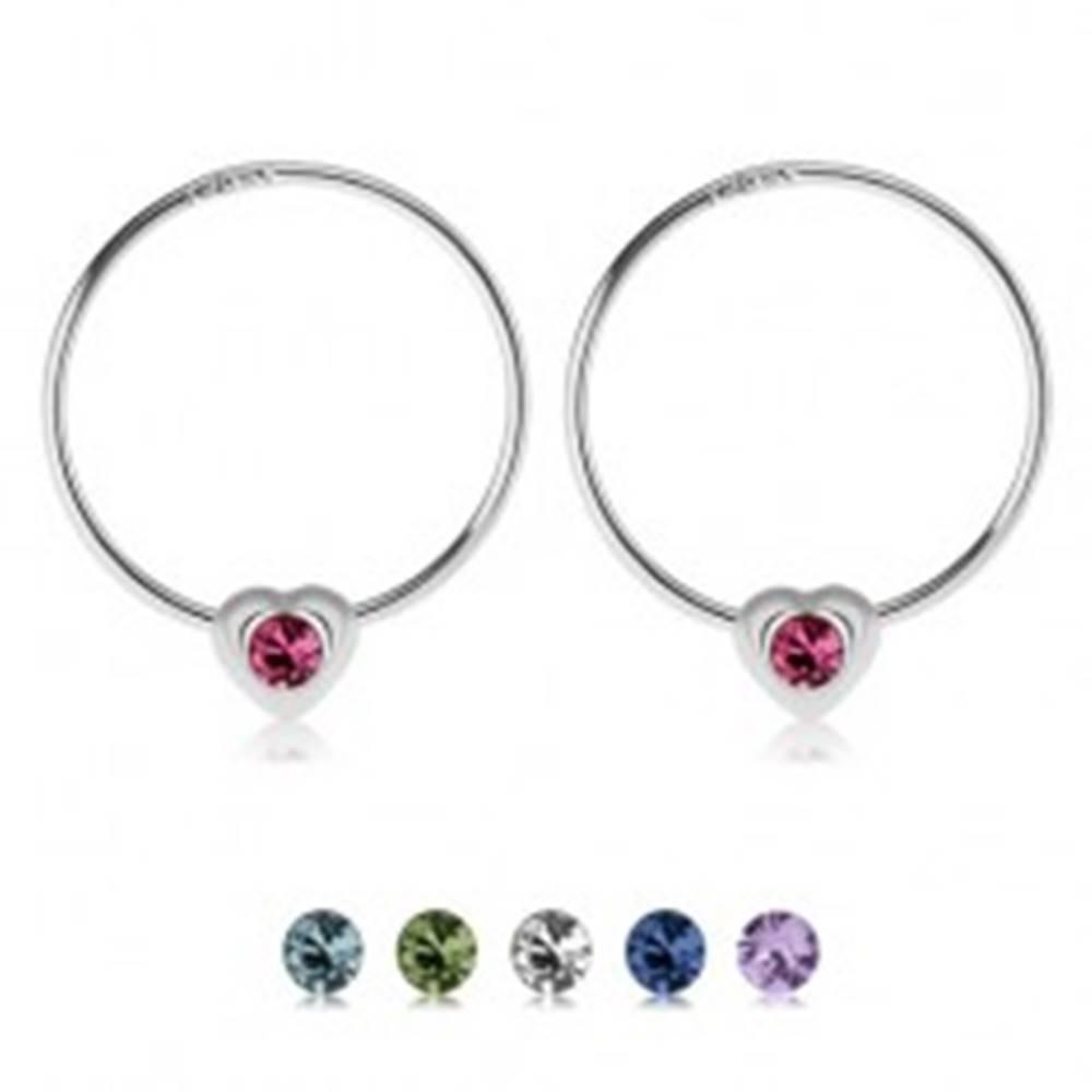 Šperky eshop Okrúhle náušnice zo striebra 925, srdiečko s farebným zirkónikom - Farba: Číra