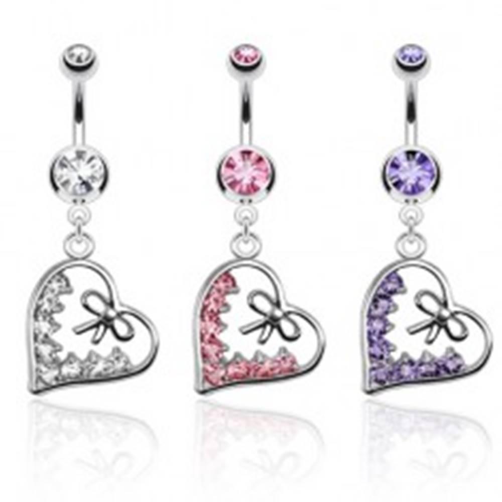 Šperky eshop Piercing do brucha z ocele, obrys srdca zdobený mašľou a zirkónmi - Farba zirkónu: Číra - C