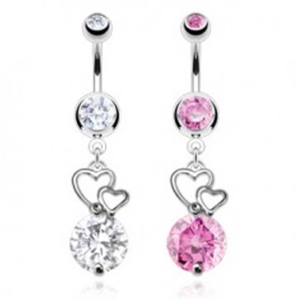 Šperky eshop Piercing do bruška z chirurgickej ocele, kontúry dvoch sŕdc, okrúhly zirkón - Farba zirkónu: Číra - C
