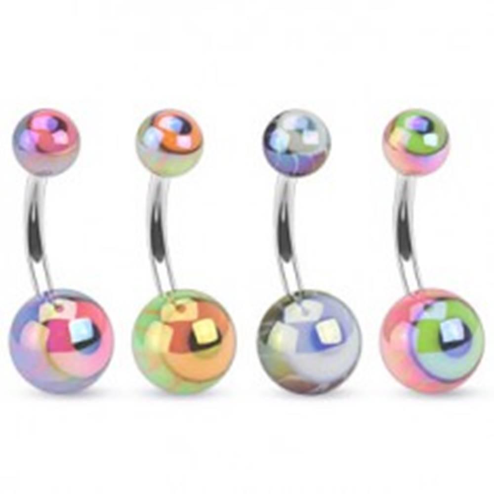 Šperky eshop Piercing do bruška z ocele, farebné guličky s metalickým odleskom, oko - Farba piercing: Čierna