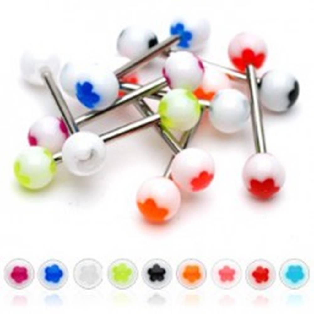 Šperky eshop Piercing do jazyka biela gulička - farebný kvietok - Farba piercing: Červená