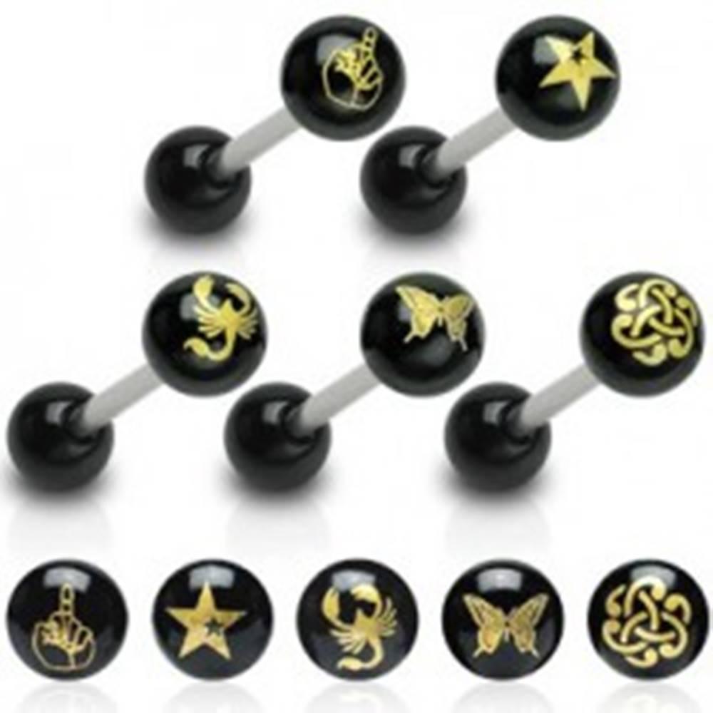 Šperky eshop Piercing do jazyka čierna gulička, obrázok - Tvar hlavičky: Hviezda