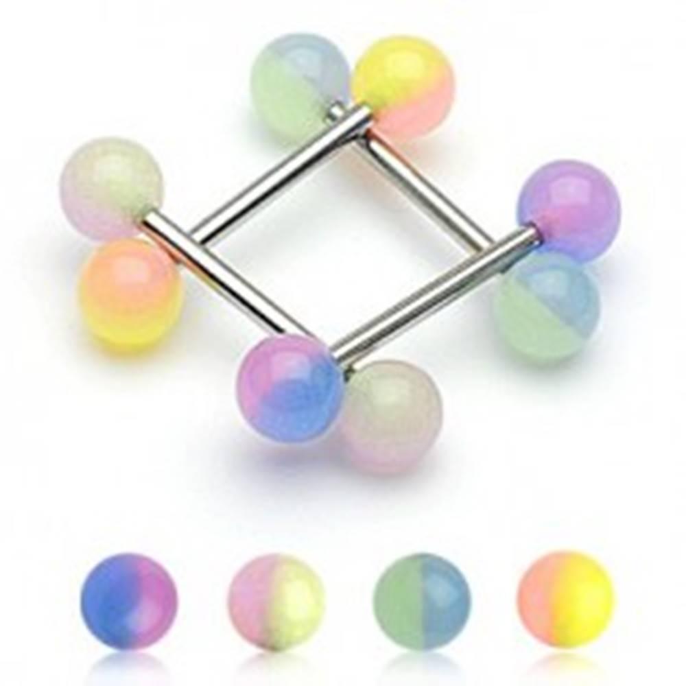 Šperky eshop Piercing do jazyka dvojfarebna gulička - Farba piercing: Fialová-Modrá
