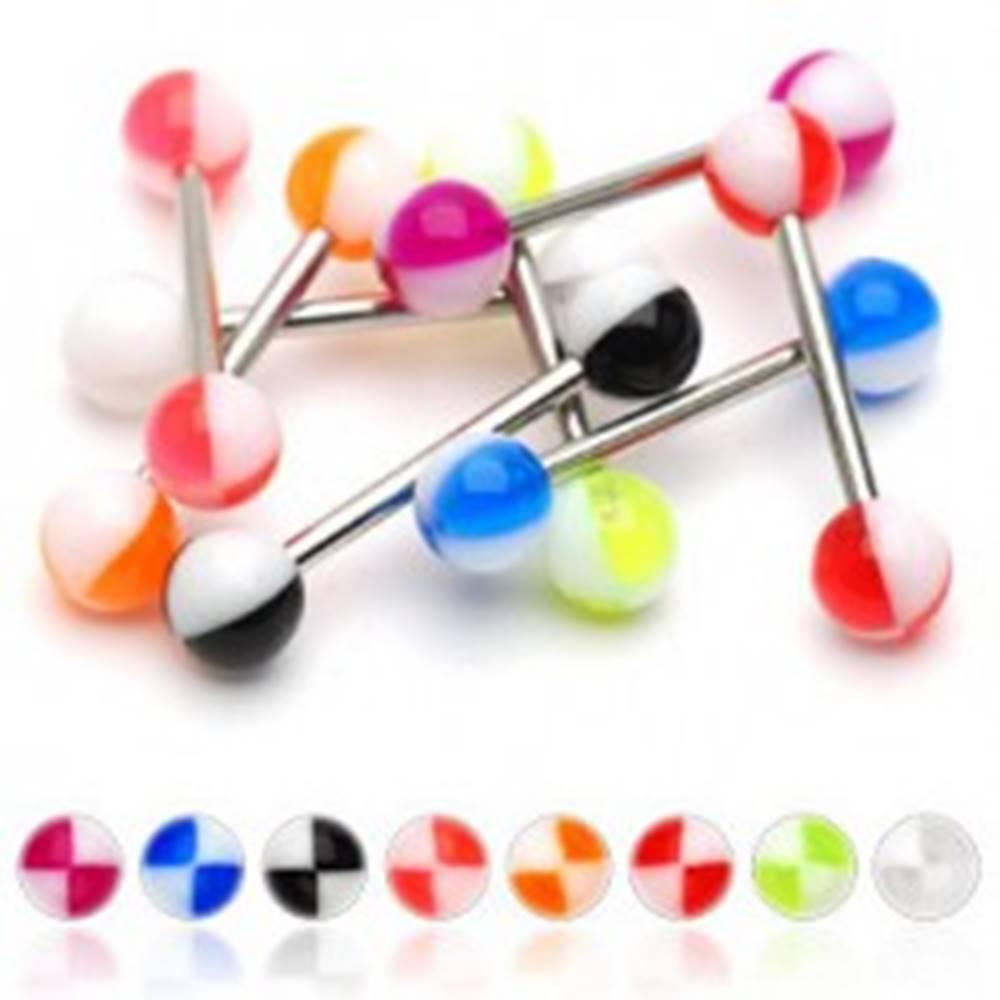 Šperky eshop Piercing do jazyka farebné štvrťky - Farba piercing: Červená