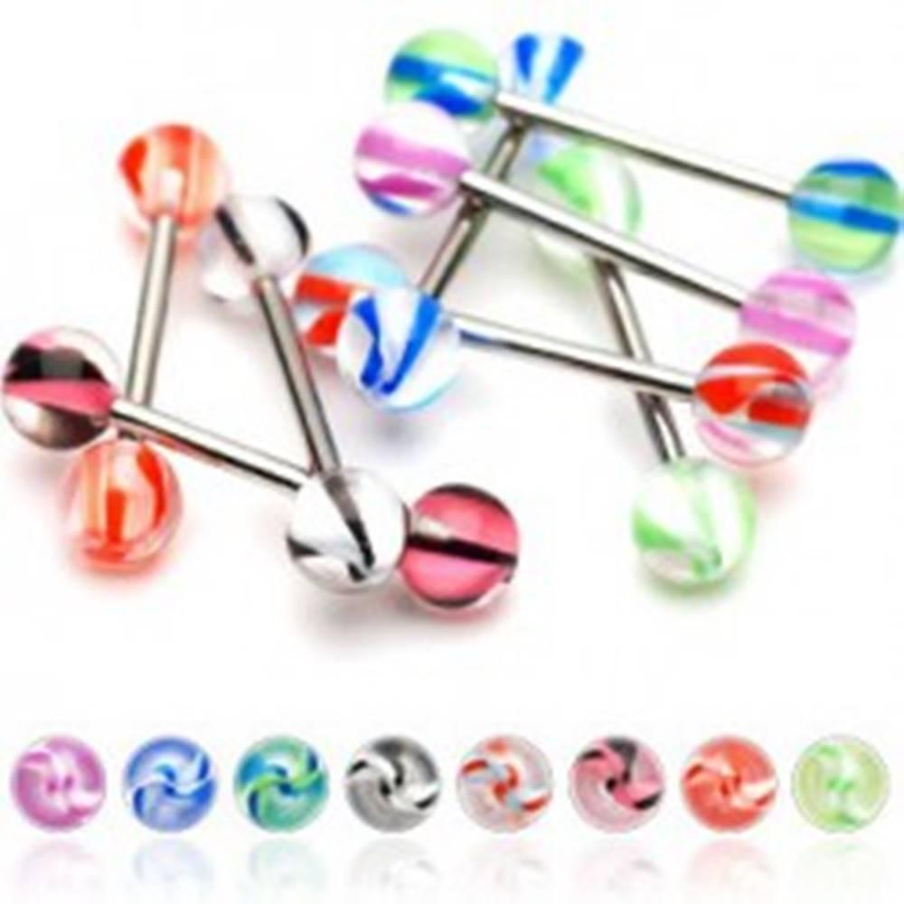 Šperky eshop Piercing do jazyka gulička špirálka - Farba piercing: Červená