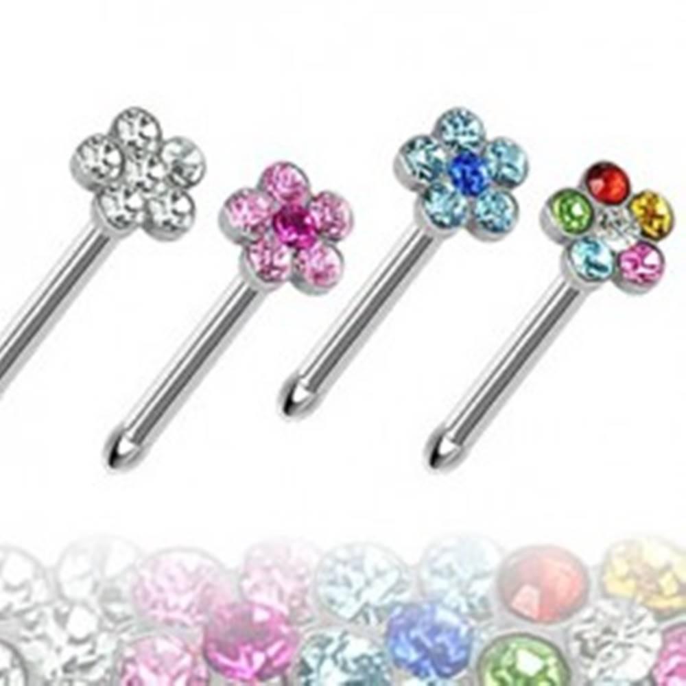 Šperky eshop Piercing do nosa rovný - kvietok so zirkónmi - Farba zirkónu: Aqua modrá - Q