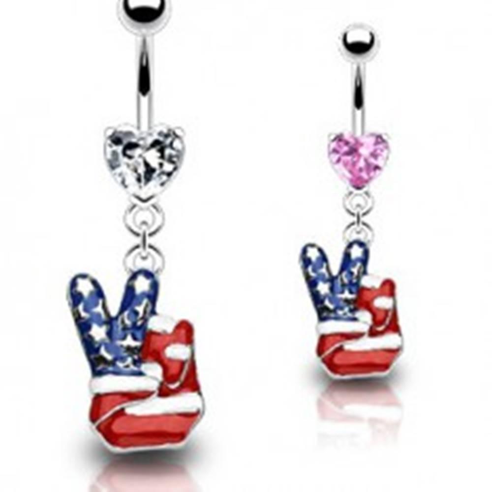 Šperky eshop Piercing do pupku - americký mier - Farba piercing: Číra