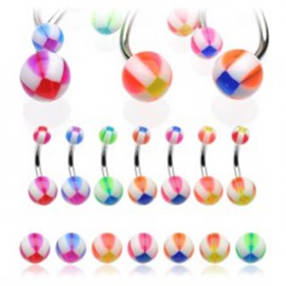 Šperky eshop Piercing do pupku basketbalová lopta - Farba piercing: Červená